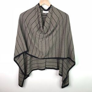 Calvin Klein striped tan/ black poncho